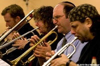 horn section with Jacob Garchick, Pam Fleming, Jordan Hirsch and Frank London